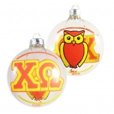 Two-Sided Chi Omega Holiday Disc Ornament