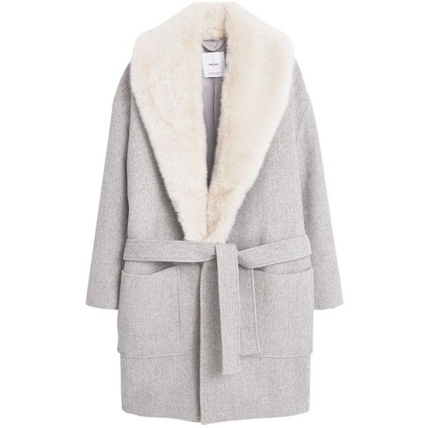 Mango Wool Overcoat, Light Pastel Grey found on Polyvore featuring outerwear, coats, jackets, coats & jackets, woolen coat, lapel coat, bow coat, gray wool coat and grey wool coat