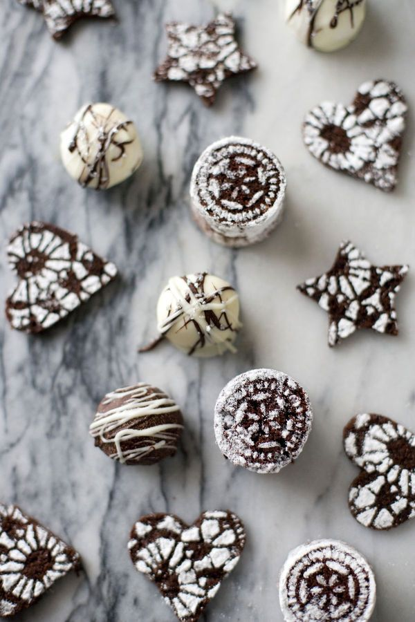 Cut out brownie pieces and use cut lace or dollies to apply powdered sugar on them