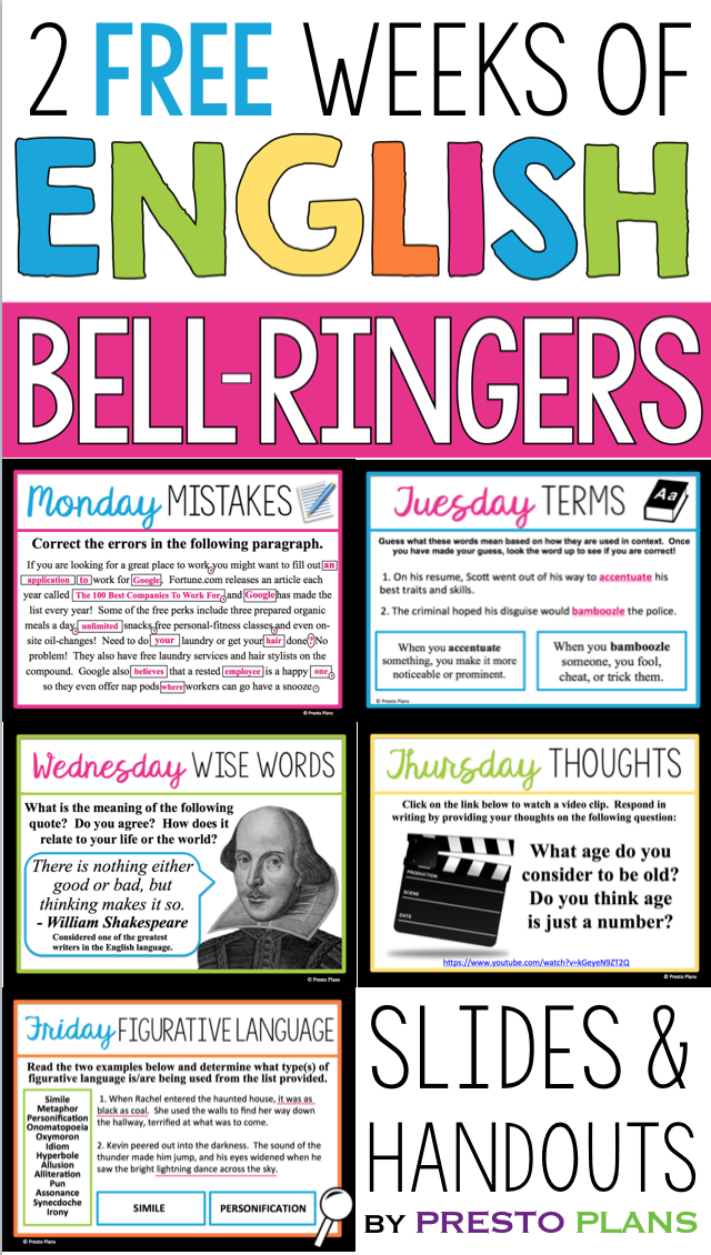 Free english bell ringers  volume 3 is part of High school english class, Teaching high school english, High school english, Middle school english, Teaching high school, Middle school language arts - FREE ENGLISH BELL RINGERS  VOLUME 3 (2 WEEKS)  Begin each of your middle or high school English classes with these daily bellringer routines for two weeks! Each day has a different engaging activity that your students will love