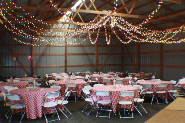String Lights Hung In Barn Rustic Party