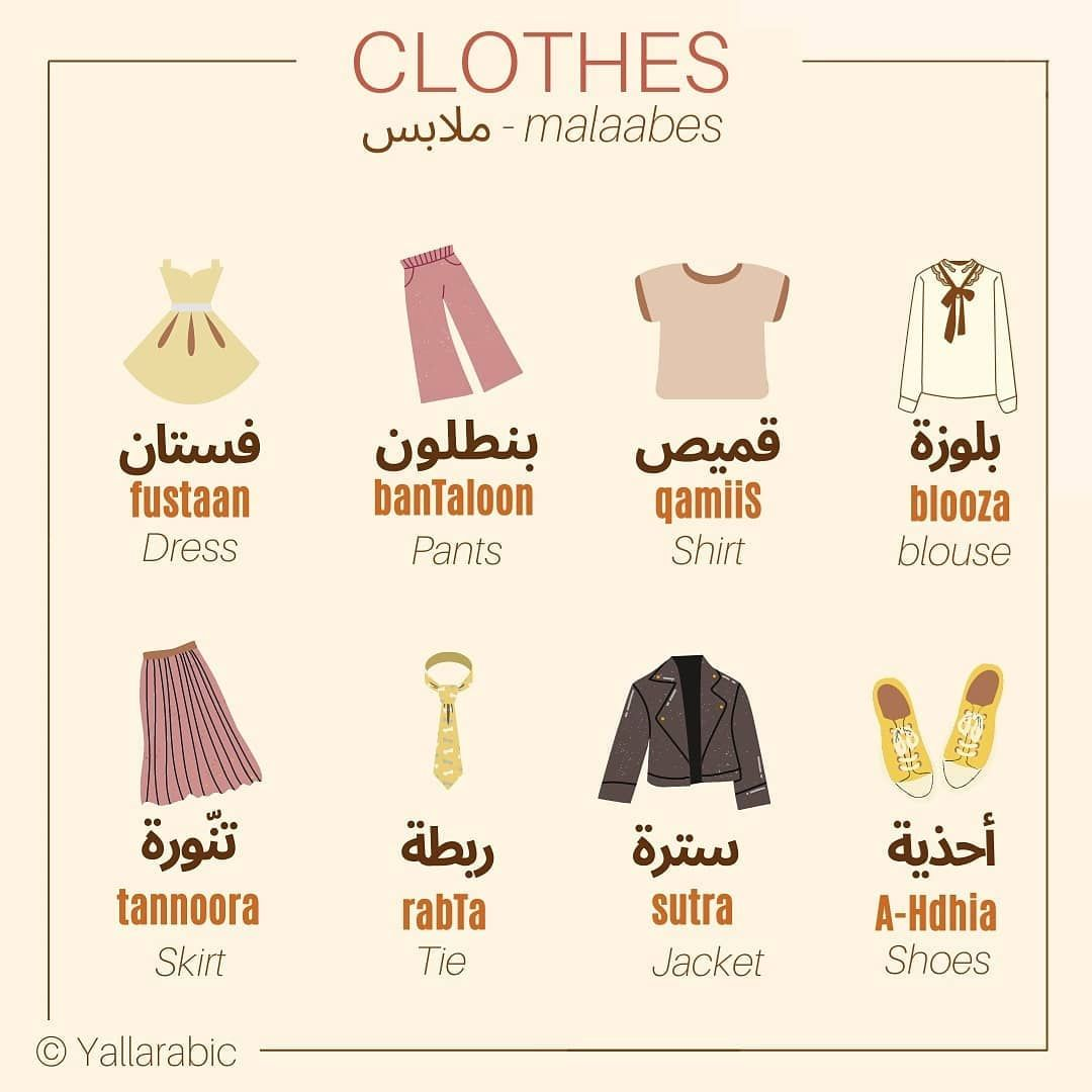 Yallarabic Learn Today Let S Learn How To Say A Few Clothes Malaabes ملابس In Arabic In 2020 Learn Arabic Language Arabic Language Learning Arabic