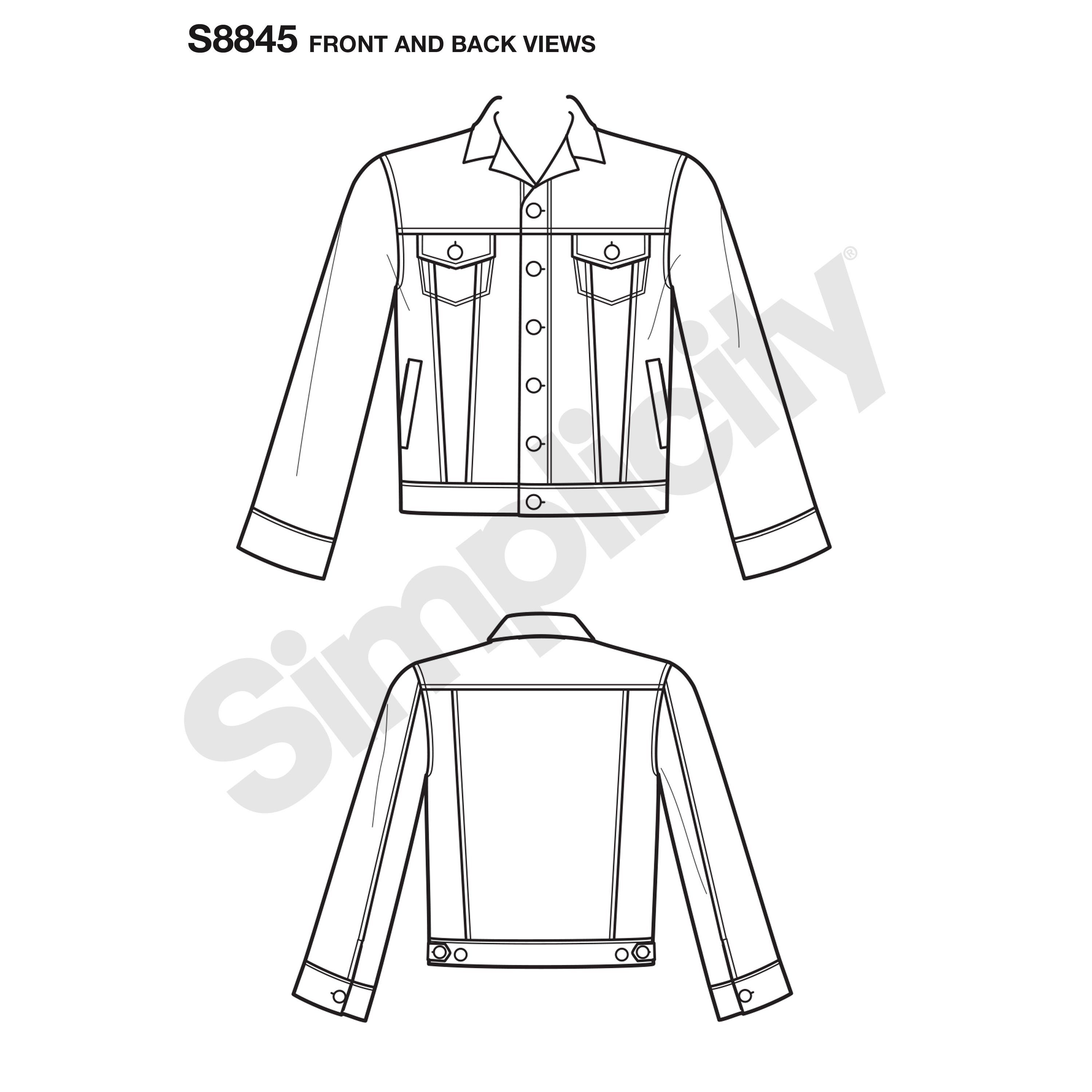 Simplicity Sewing Pattern S8845 Mimi G Misses Men S And Teens Jean Jacket Jacket Pattern Sewing Simplicity Sewing Patterns Mimi G [ 3000 x 3000 Pixel ]