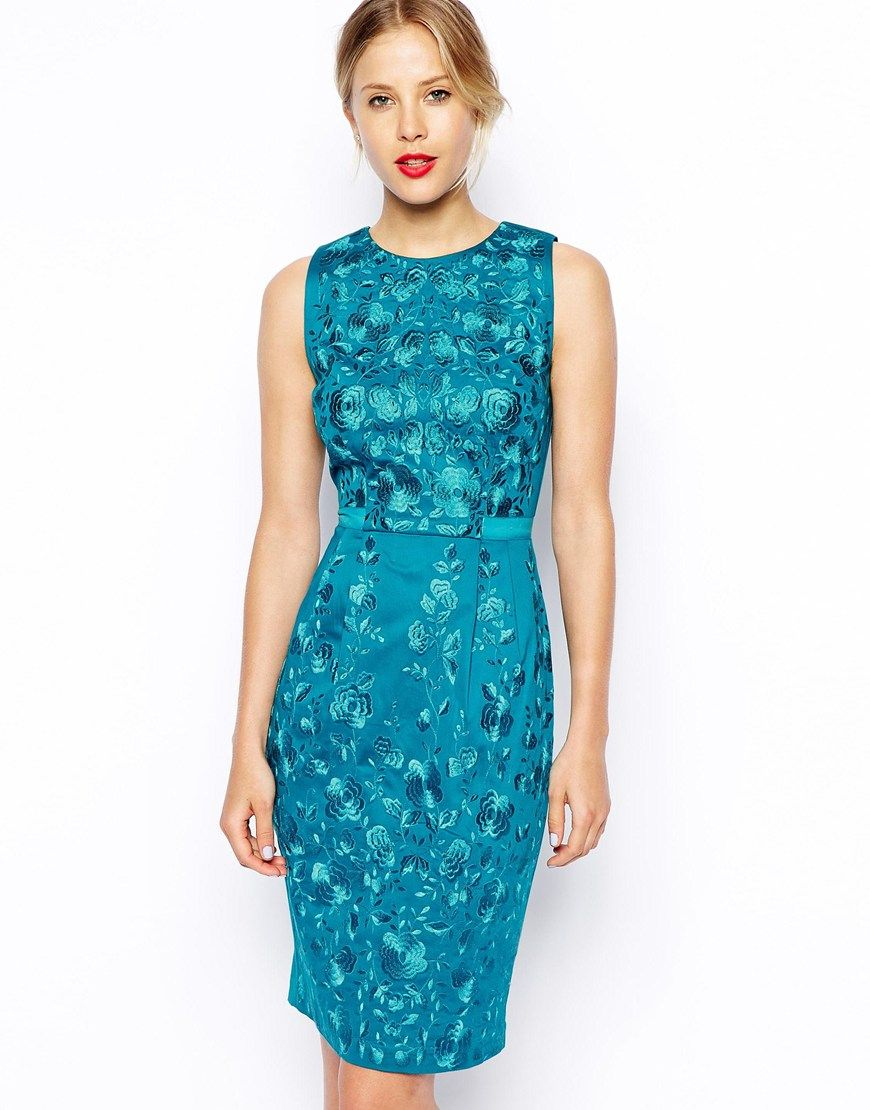 ASOS Premium Wiggle Dress with Floral Embroidery wedding guest dress ...