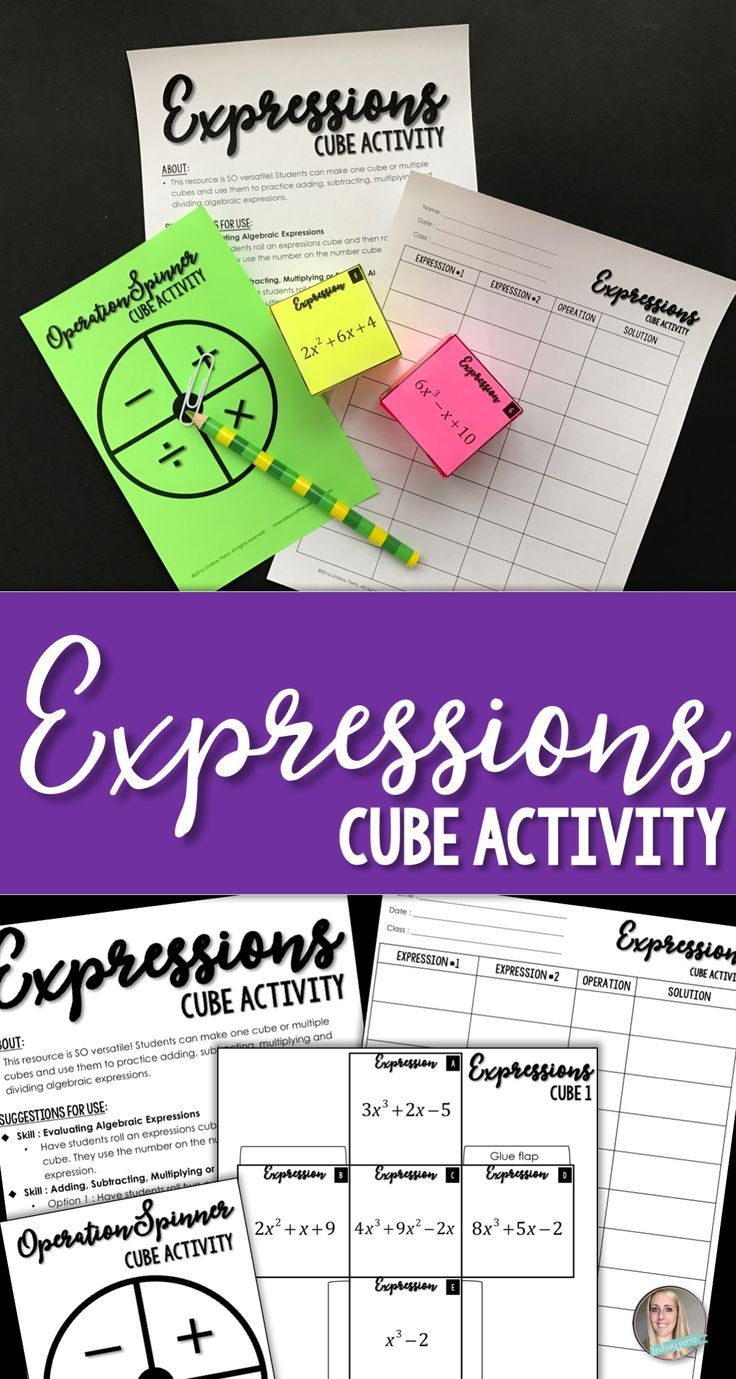 Expressions Cube Activity Algebraic expressions