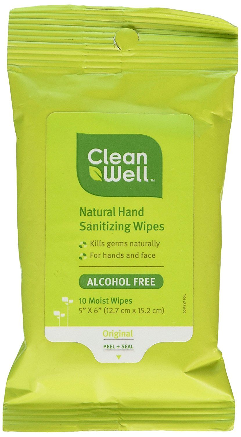 CleanWell AllNatural Hand Sanitizing Wipes Pocket Pack