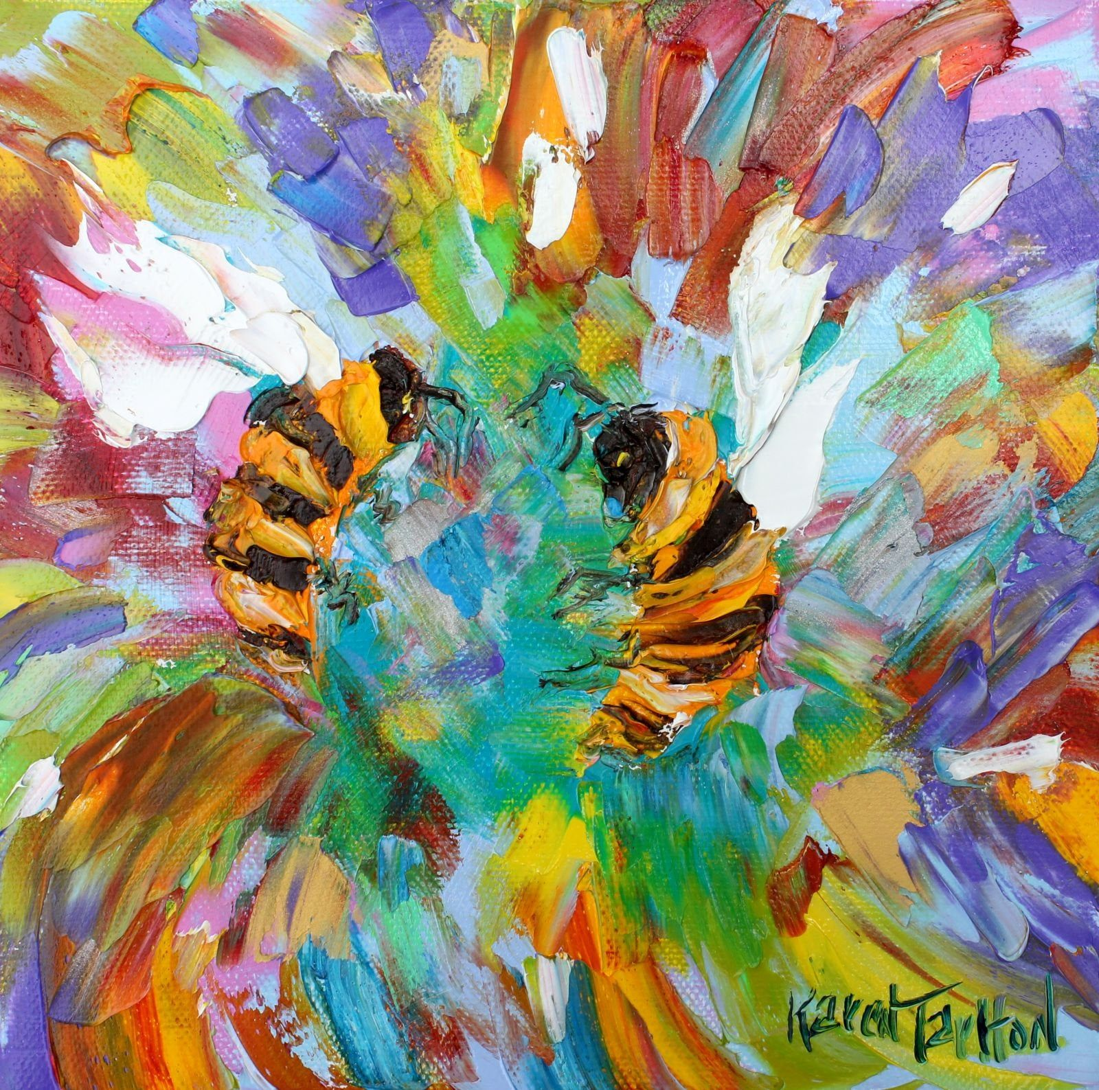 Bee Dance painting, bees art, original oil abstract impressionism fine art  impasto on canvas by Karen Tarlton #bees #oilpainti… | Bee art, Dance  paintings, Painting