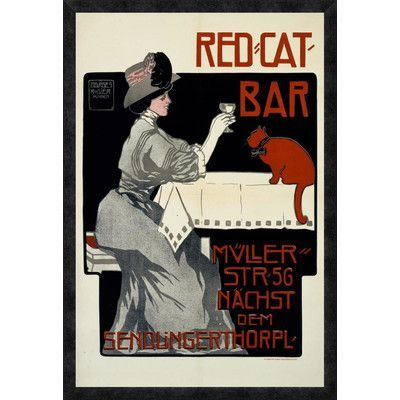 """Global Gallery 'Red-Cat-Bar' by Georges Rogier Framed Vintage Advertisement Size: 38"""" H x 25.89"""" W x 1.5"""" D"""