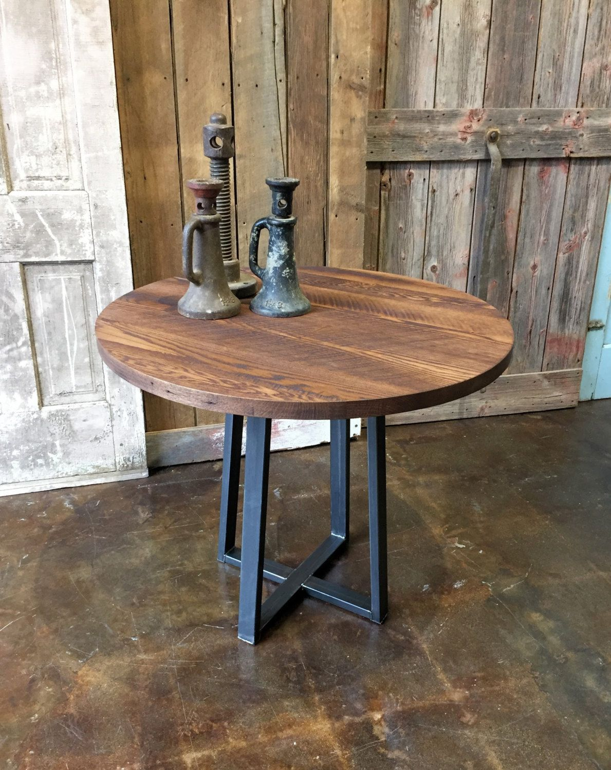 Round Industrial Dining Table Reclaimed Wood Steel Pub Table