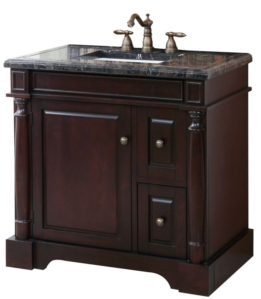 Hancock 21 Inch W 1 Drawer 1 Door Vanity In Brown With Engineered Stone Top In Multi Colour Bathroom Vanity Vanity Sink Marble Vanity Tops