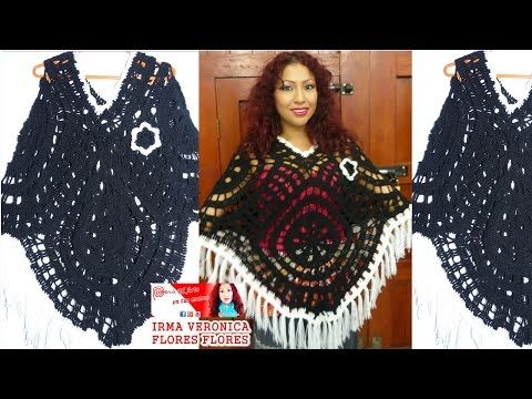 Cómo tejer Poncho Crochet con Cuadros Calados / Video Tutorial ...