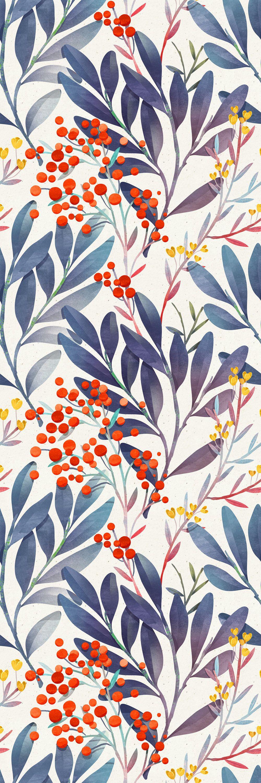 "Paloalto Removable Wild Berries Leaves 10' L x 25"" W Peel and Stick Wallpaper Roll"