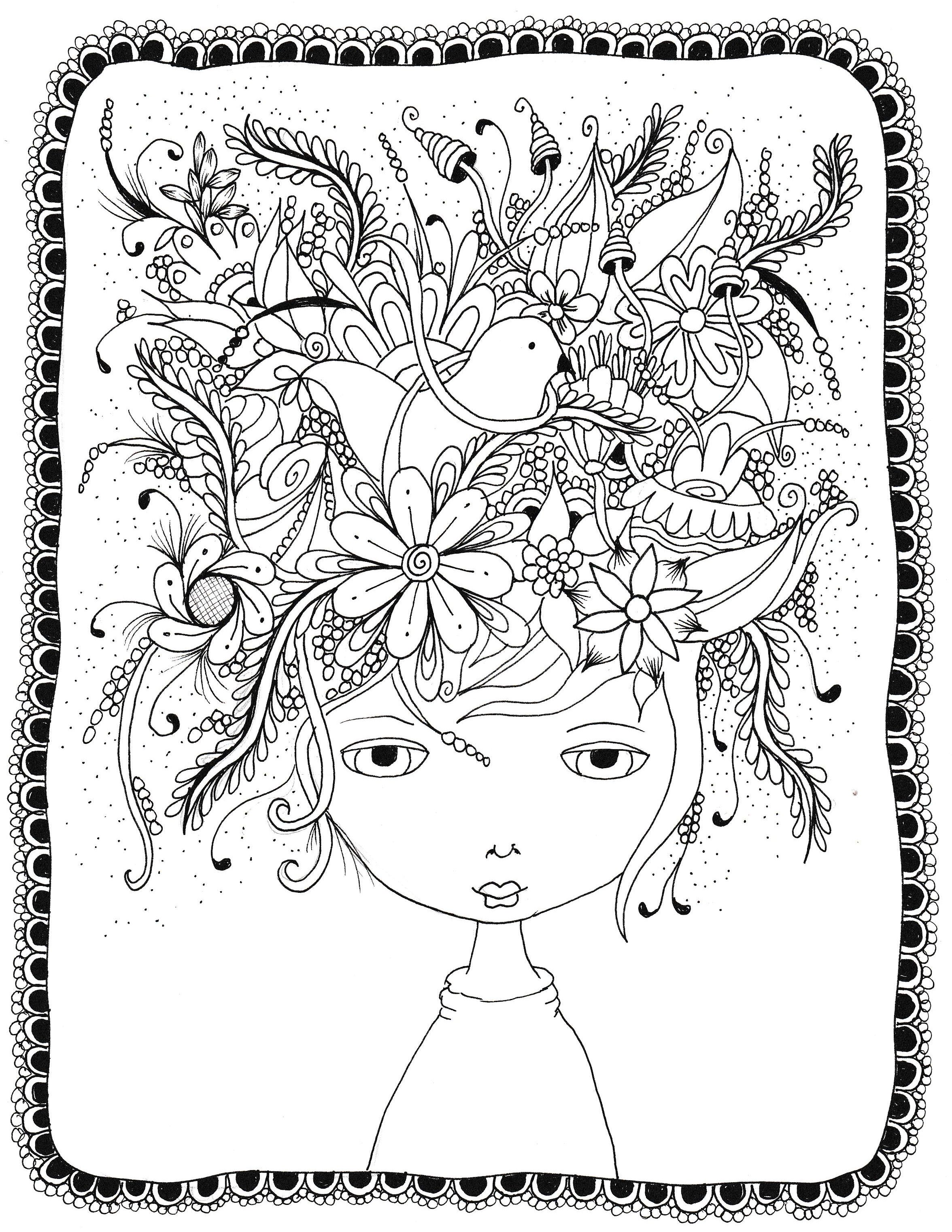 Crazy hair day doodle free coloring page for adults | Coloring ...