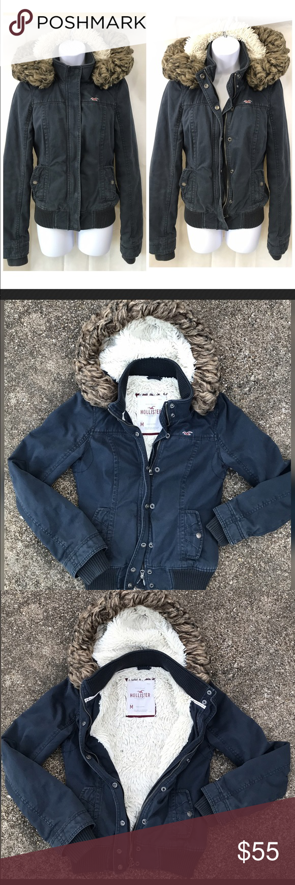 Hollister Faux Fur Fully Lined Coat Size Medium Hollister Hollister Jackets Coat [ 1740 x 580 Pixel ]