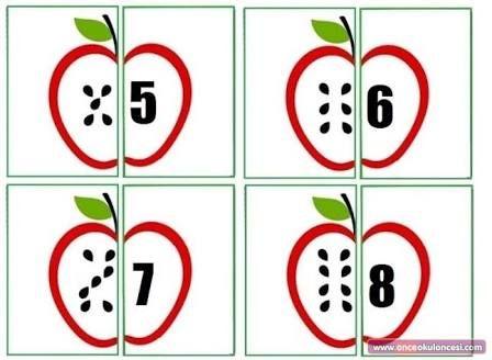 Resultado de imagen para okul öncesi sayı eşleştirme kartları ...