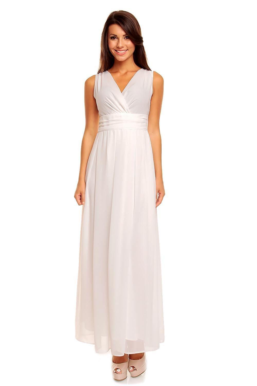 Cream vneck slim waist prom evening dress laveliq products