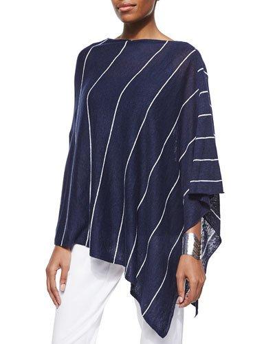 9eb6cfa74c7e Eileen Fisher Organic Linen Pinstripe Poncho, Midnight/White, Plus Size