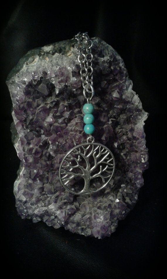 Guarda questo articolo nel mio negozio Etsy https://www.etsy.com/it/listing/293274229/necklace-tree-of-the-life-with-turquoise