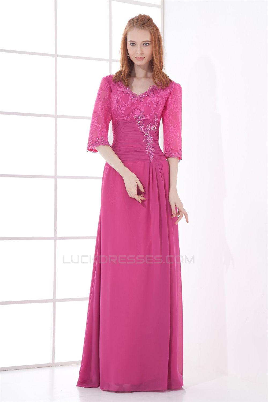 Sheath/Column Lace Chiffon V-Neck Half Elbow Length Prom/Formal ...
