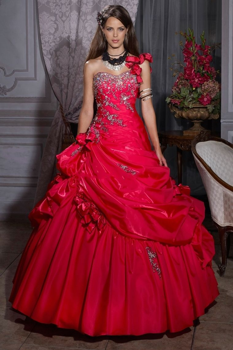 Ball Gown One Shoulder Sweetheart Quinceanera Dresses With Ruffle Beading