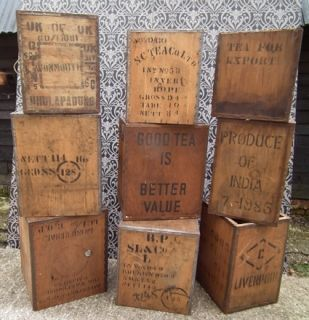 Ten Vintage Tea Chests All With Writing Relating To Tea