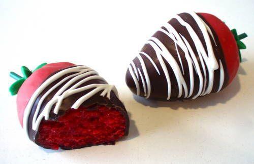 Dipped red velvet cake balls made to look like strawberries.