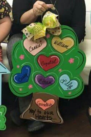 Wooden door hanger tree personalized with grandchildrens names wooden door hanger tree personalized with grandchildrens names mothers day gift craft night negle Images