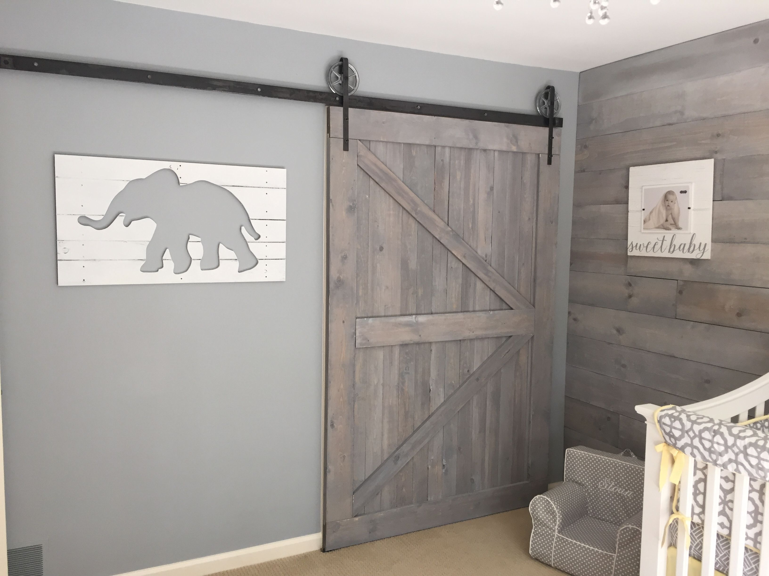 Shabby Chic Nursery. Shiplap. Barn Door. Whitewash. Gray
