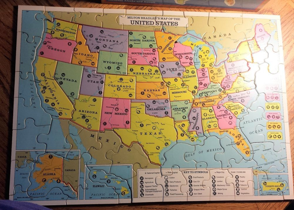 Vintage United States + World 2-Sided Wood Map Puzzle~Complete ...