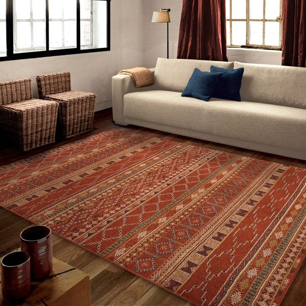 Carolina Weavers Celebration Collection Desert Trail Red Area Rug (5u00273 X ...