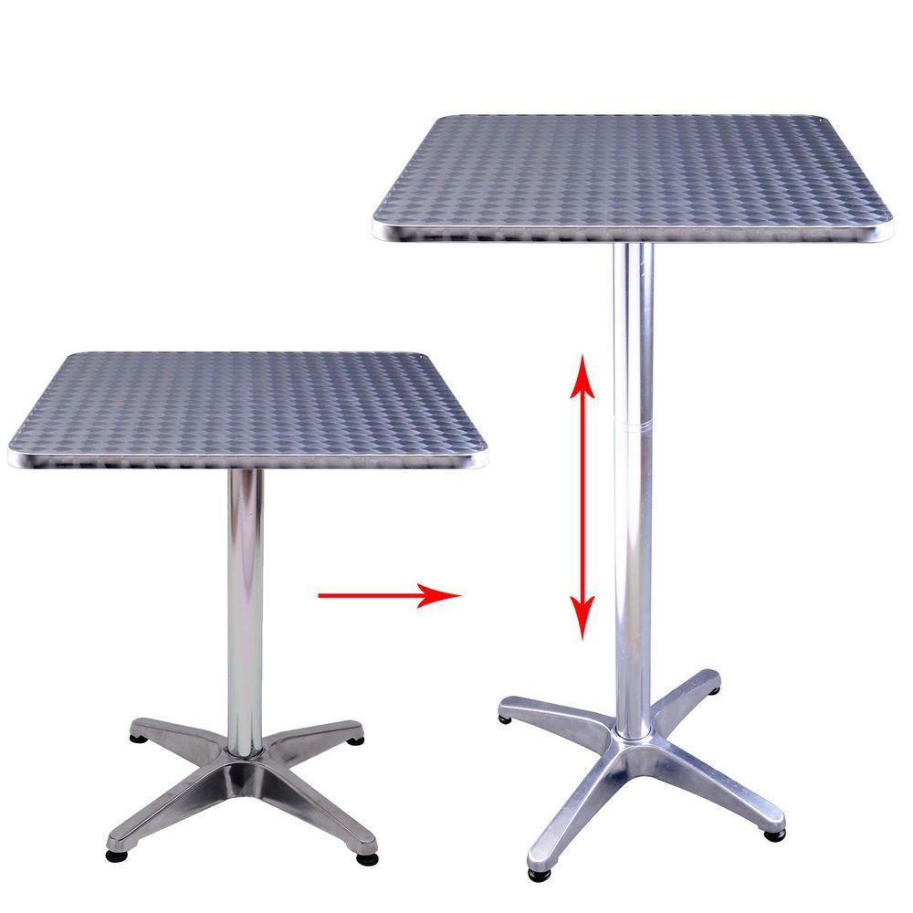 24l adjustable height pub bar table home silver aluminum