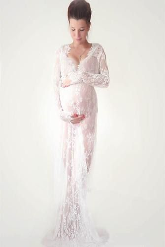 Cco03 long sleeve lace maternity dress photo shoot prop for Long sleeve lace maternity wedding dress