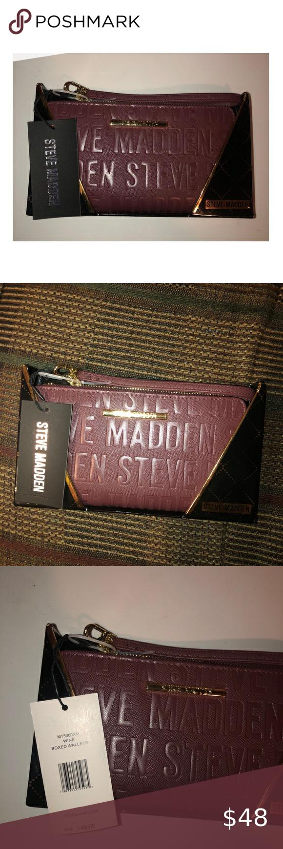 Nwt Steve Madden Wine Stamped Logo Wallet Steve Madden Wallet Steve Madden Bags Striped Wallet