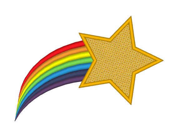 Shooting Star Rainbow Tail Embroidery Machine Design Etsy Star Clipart Shooting Star Clipart Shooting Star Drawing