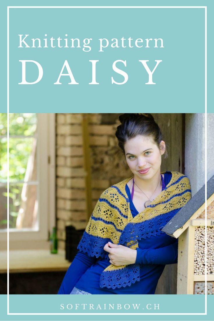 Daisy crescent shape shawl knitting pattern from the Soft Rainbow ...