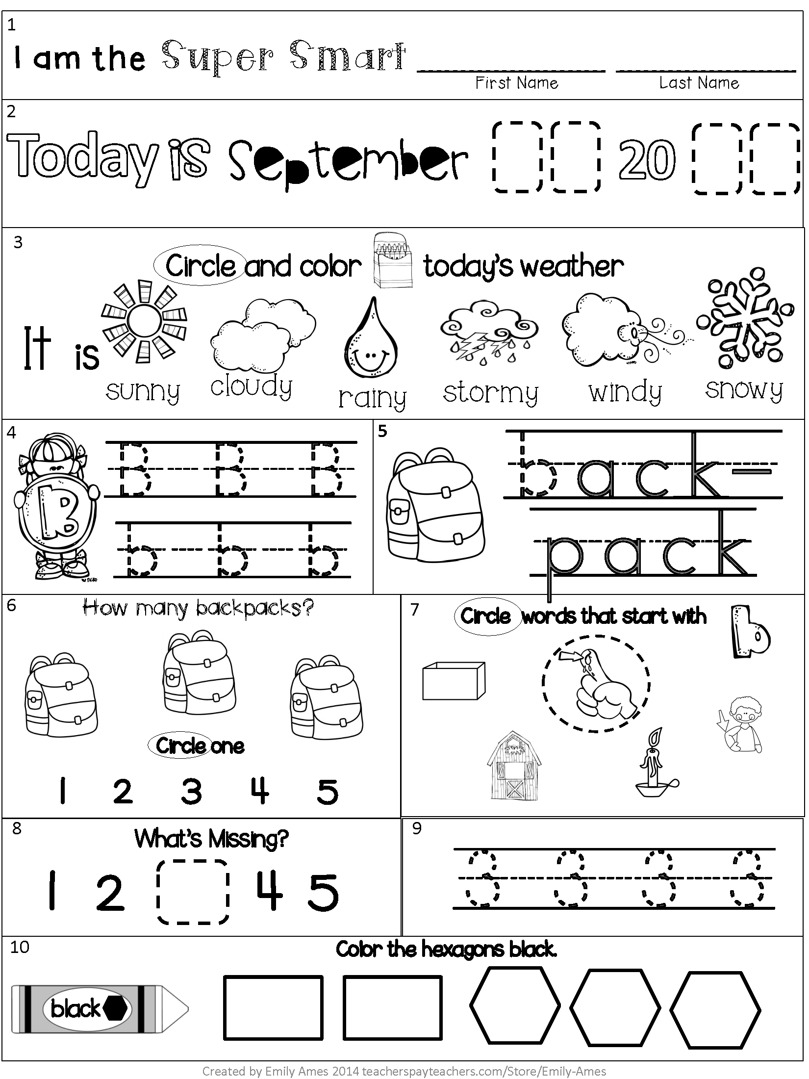 September Kindergarten Morning Work Packet Letters Numbers Math Phonics Counting Shapes