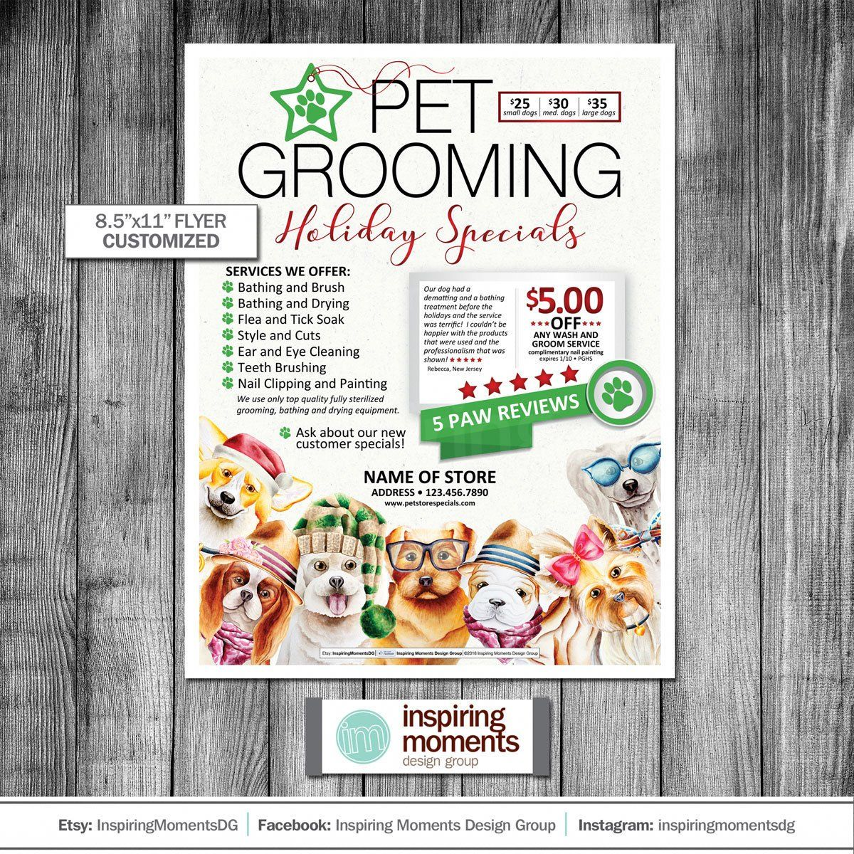 Dog Grooming Flyer Printable Holiday Dog Groomer Small Business Pet Store Specials Fundraiser Flyer De Dog Grooming Dog Holiday Dog Grooming Shop