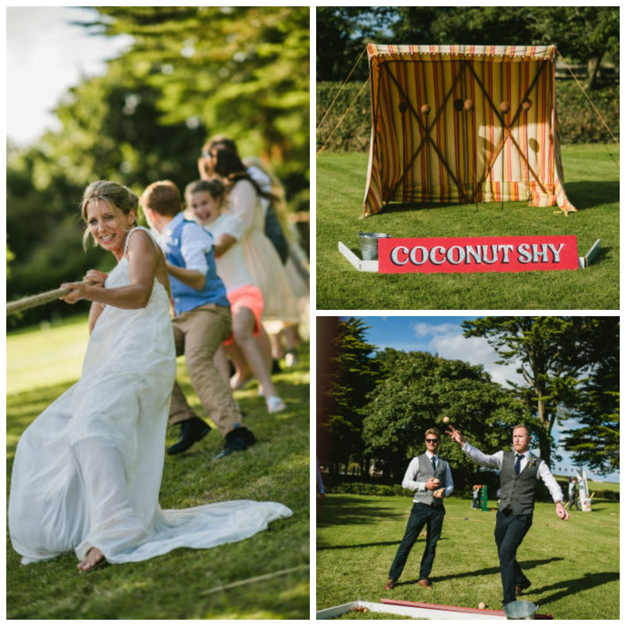 Great Fun For Wedding Guests And Fantastic Photos With Traditional Games Like Coconut Shies Tug