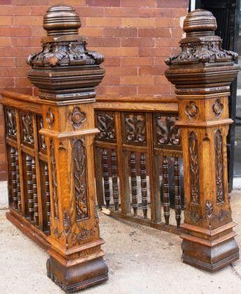 Heavily Carved Victorian Era Oak Wood Antique Newel Posts W Railing Newel Posts Wood Balusters Victorian Interior