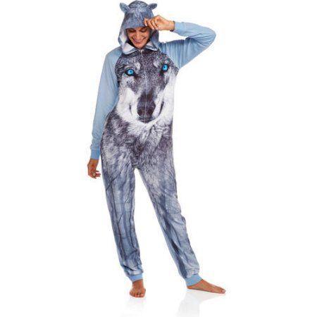 Secret Treasures Union Suit Wolf Size Xs Blue Onesie