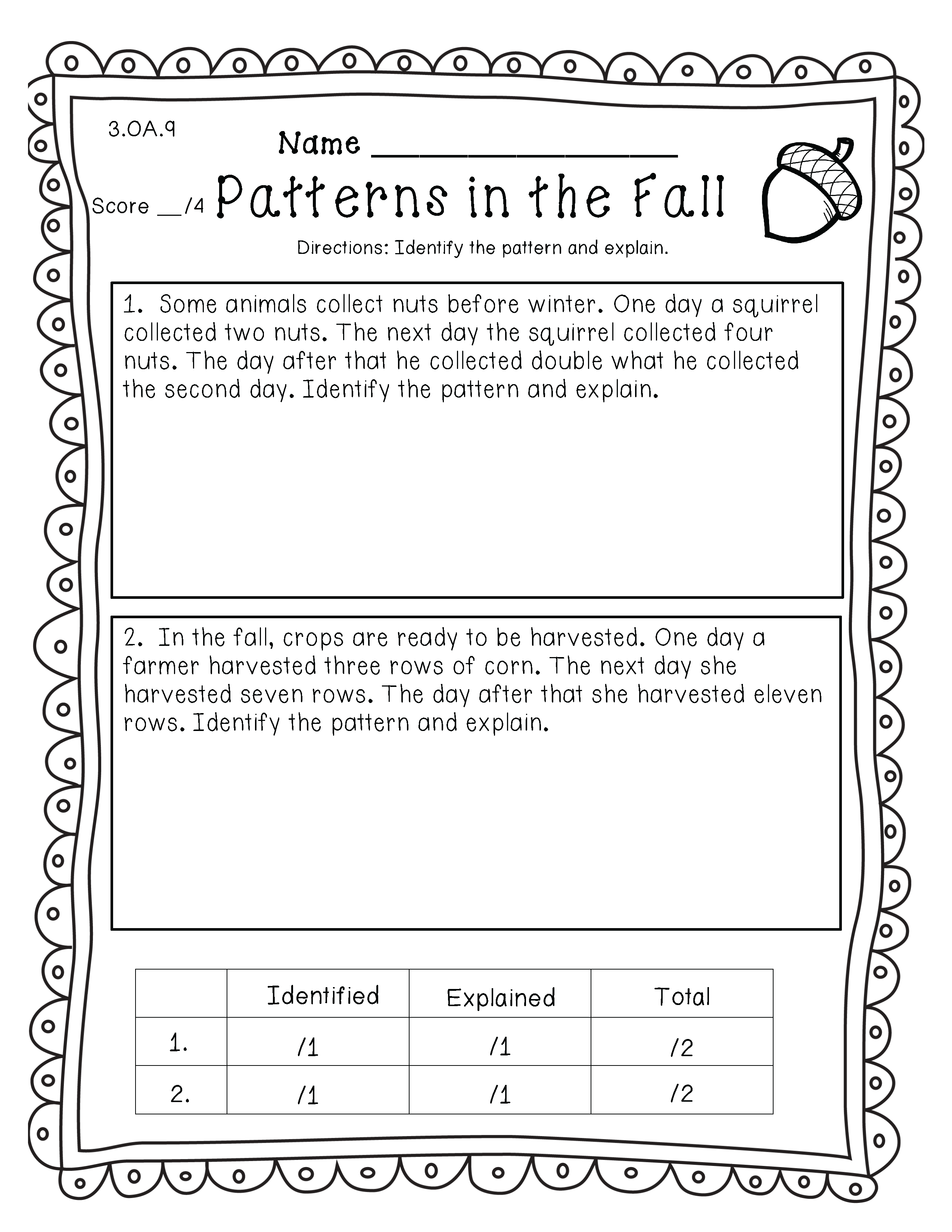 3rd Grade Common Core Fall Themed Math For Standards O A