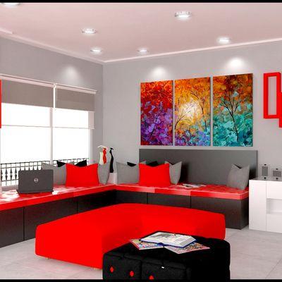 Resultado de imagen para decoracion cuadros modernos rojo for Decoracion de estudios modernos