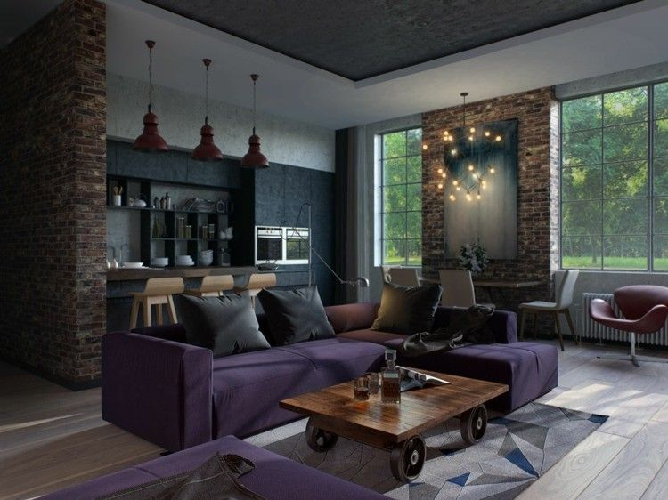 apartment design im industriellen stil loft, wohnzimmer design mit couchtisch auf rädern und aus kirschholz, Design ideen