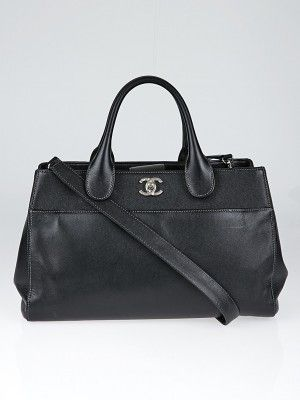 Chanel Black Leather Cerf Shopping Tote Bag - Yoogi's Closet