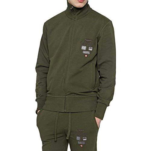 Aeronautica Militare CF_AM-HS9001, Felpa Uomo, Verde ...