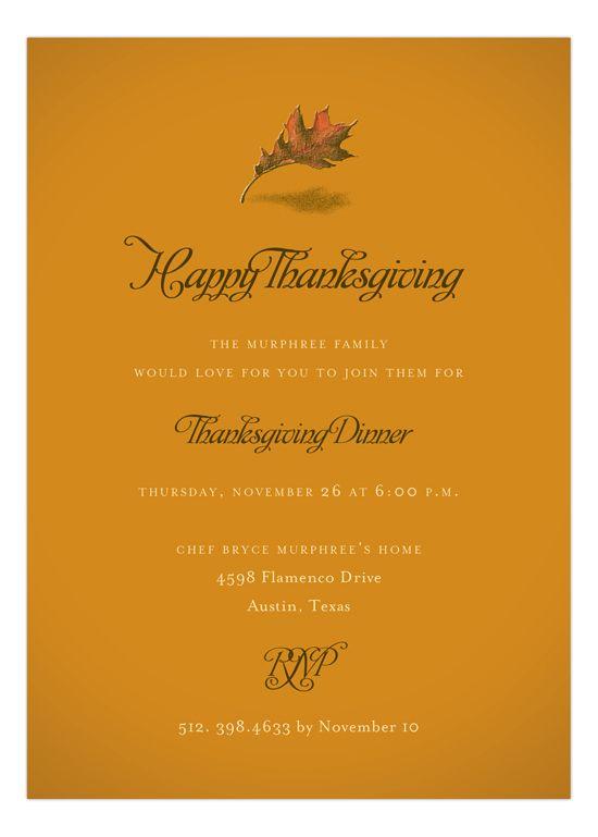 Fresh Press #Fall Leaf Invitation : #Thanksgiving Invitations