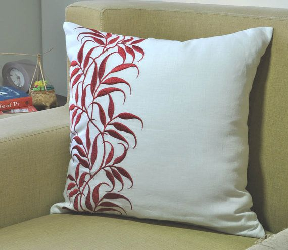Red White Decorative Pillow Cover Couch Pillow Throw By KainKain Impressive Red And White Decorative Pillows