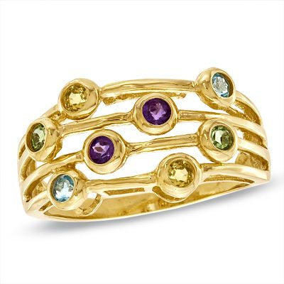 Zales Multi-Gemstone and Diamond Accent Orbit Ring in Sterling Silver with 18K Gold Plate XXc1hB