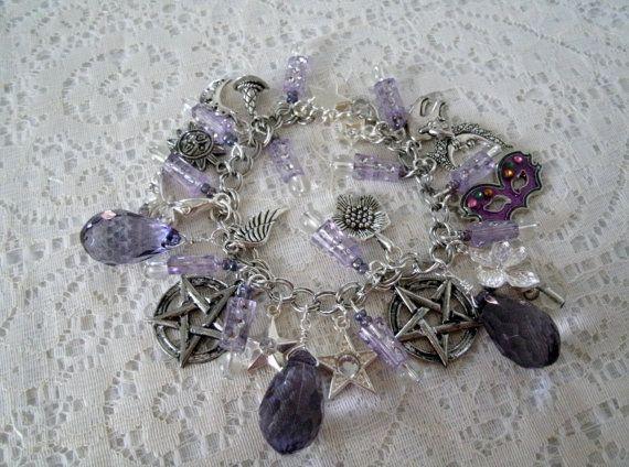 Amethyst Nights Pentacle Charm Bracelet Wiccan Jewelry