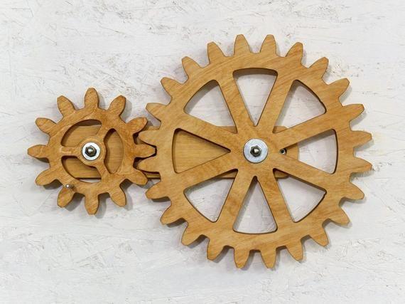 Mechanical Wall Art Kinetic Wall Art Decor Rotating Wooden Etsy Wooden Gears Wooden Wall Art Wall Sculptures